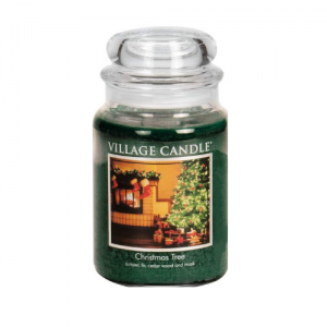 Village Candle Christmas Tree Large Glass Apothecary Jar Scented Candle